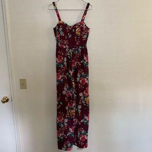Maroon floral jumpsuit
